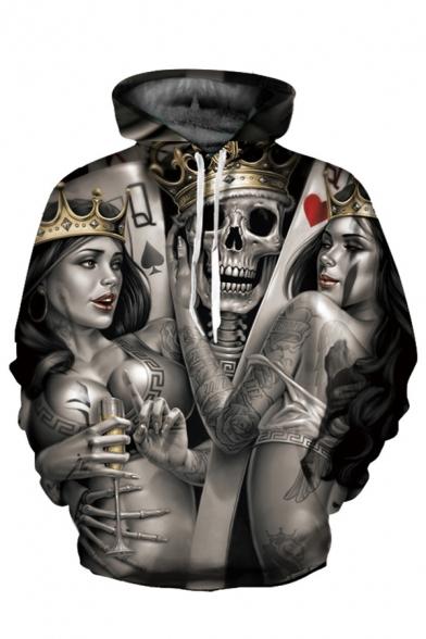 Crown Skull Sleeve Hoodie Girl Loose Sexy Printed 3D Long 7wZtzxAqn5