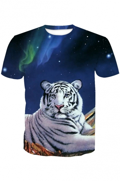 White Tiger Round Short Printed Tee 3D Sleeve Neck Rd8wqRSZ