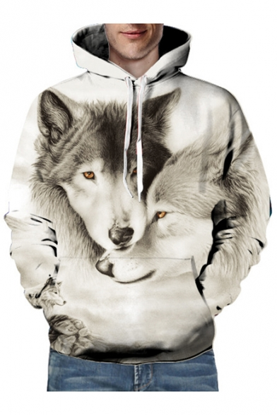 Hoodie Printed Sleeve Wolves Long Loose Unisex 3D 8axAYqw6