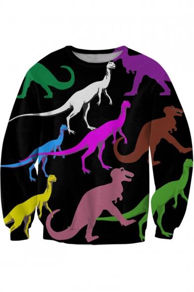 Sleeve Long Round Printed Colorful Neck Dinosaur Sweatshirt qI1vxzXw