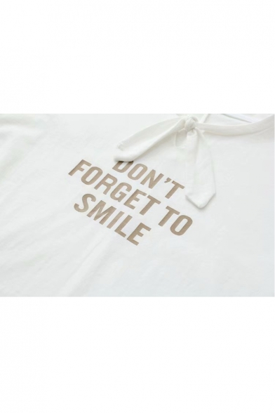 SMILE Short TO DON'T Knotted Sleeve FORGET Tee Letter Neck Round UC7CqxOPw