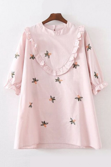 Floral Embroidered Ruffle Detail 3/4 Length Sleeve Shift Dress