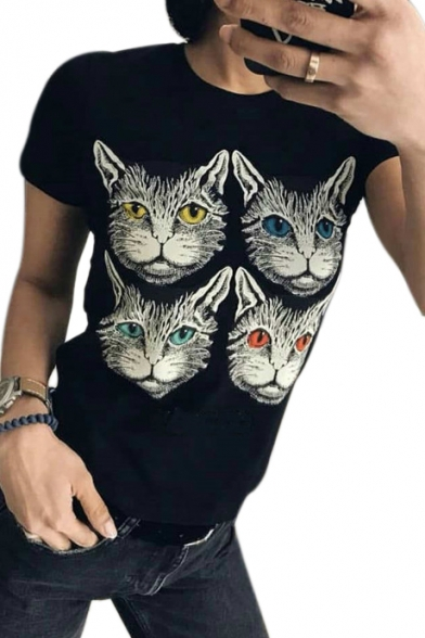 Sleeve Short Slim Printed Cats Tee Neck Four Round wIp7qxX