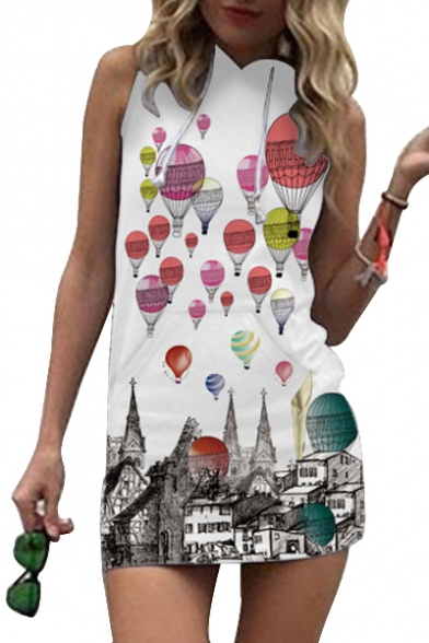 Balloon Hooded Dress Mini Printed Sleeveless Air Hot 5aBqw