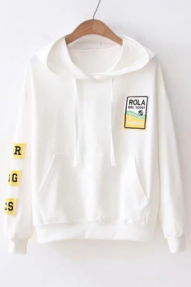 Embroidered Graphic Sleeve Applique Hoodie Long Loose Letter 8fU4gU