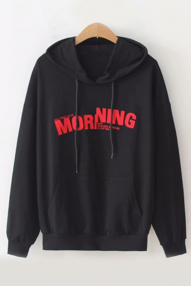 Sleeve Long Leisure MORNING Embroidered Letter Hoodie wqaC8A