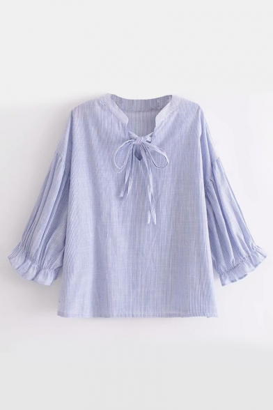 Tie V Print Neck Stripe Stylish New Half Bow Sleeve Blouse Front xqaBYwRT