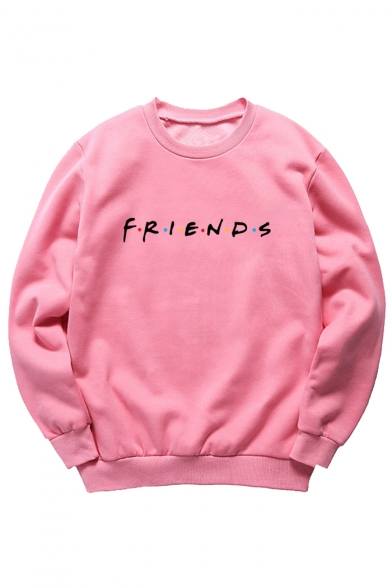 Round Neck FRIENDS Letter Printed Long Sleeve Sweatshirt