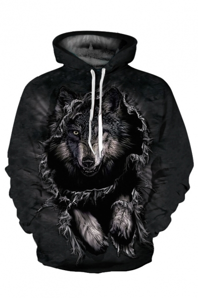 Printed Casual Stylish Sleeve Wolf Hoodie Long OUUB8xq