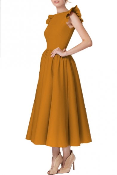 Vintage Sleeveless Round Neck Plain Maxi A-Line Dress
