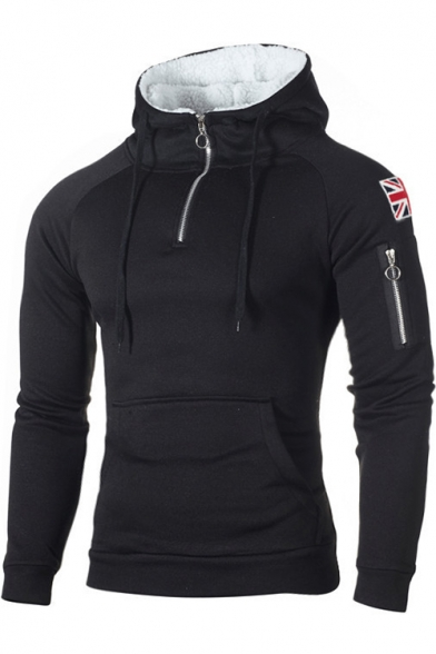 Zipper Front England Flag Applique Long Sleeve Slim Hoodie