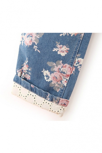 All Over Floral Printed Drawstring Waist Straight Jeans