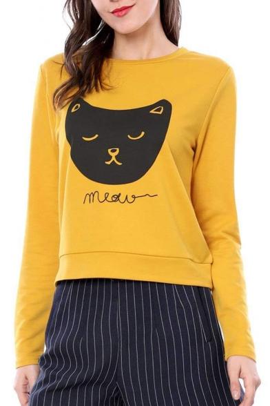 Cartoon MEOW Round Letter Neck Sleeve Printed Cat Sweatshirt Long BpBPqfAwx