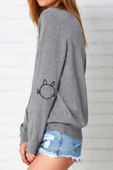 Neck Long Embroidered Round Cat Sweatshirt Sleeve qUTIa4