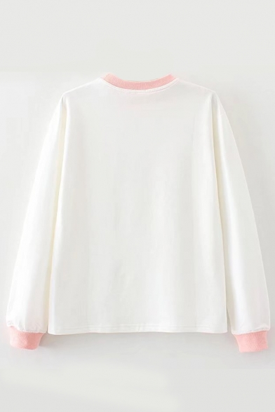 Color Strawberry Embroidered Japanese Round Block Long Neck Sleeve Tee 11qFUHrxwz