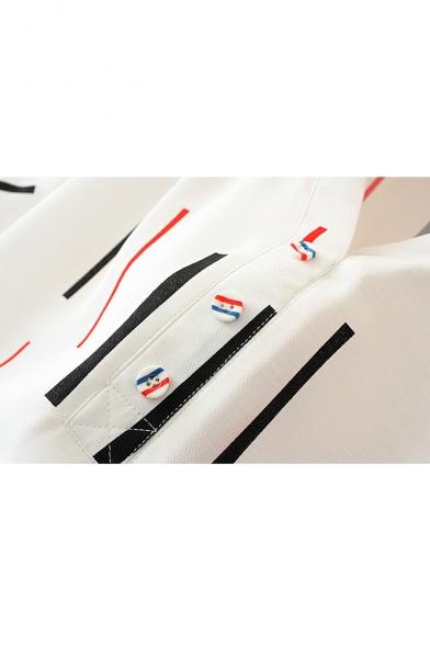 Blouse Colorful Short Pattern Striped Sleeve Neck V HT7qwnY6fB