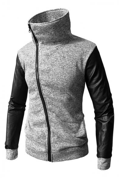 High Neck Asymmetrical Zipper PU Patchwork Long Sleeve Slim Hoodie