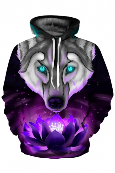 Lotus Printed Long Wolf Hoodie Casual Sleeve qzqZxRwS1