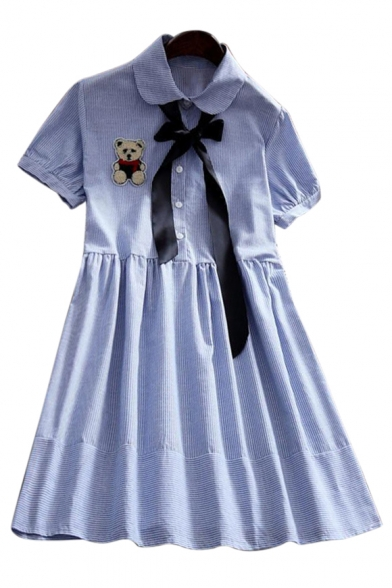 Lovely Bear Embroidered Applique Lapel Collar Striped Printed Short Sleeve Midi A-Line Dress
