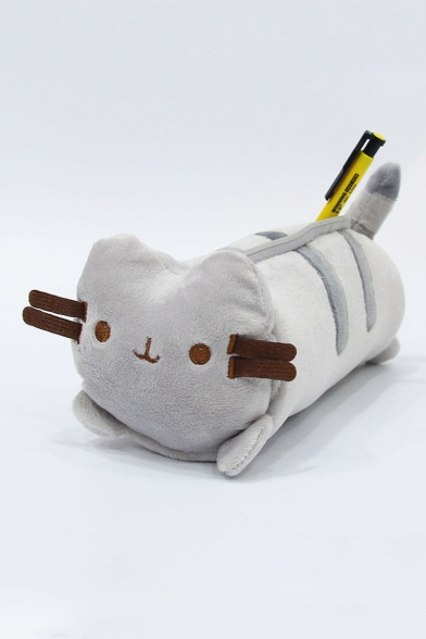 Lovely Cat Pattern Zippered Plush Pencil Case