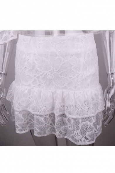 Skirt with The A ords High Detail Blouse Short Line Crop Ruffle Off Sleeve Waist Shoulder Co OFwxqU8