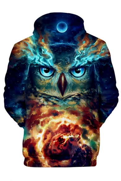 Long Sky Sleeve Hoodie Leisure Printed Owl 3D tAqxw1fZ