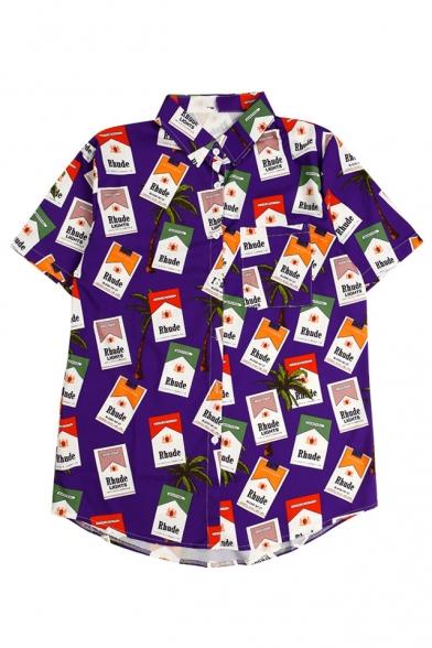 Shirt Sleeve Coconut Printed Cigarette Button Down Lapel Collar Short Tree HUqqwfz