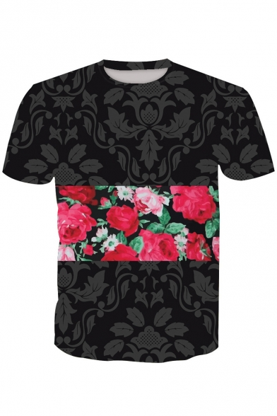 Neck Sleeve Floral Color Block Printed Round Short Tee wxqwzICfA