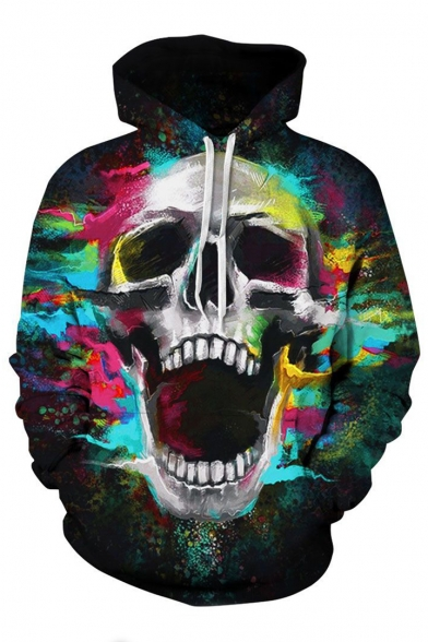 Hoodie Unisex Long Printed Sleeve Skull Colorful BqwIx1zXB