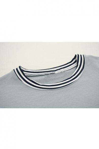 Round Contrast Tee Neck Sleeve Long Two Trim Fake Leisure Pieces Striped rTFqTRX