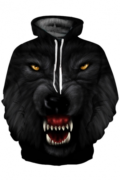 Sleeve Printed 3D Hoodie Cool Oversize Long Wolf w17fn4q8