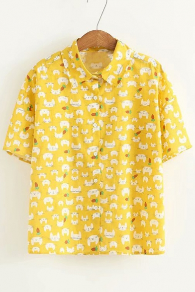 Cute Animal Carrot All Over Printed Lapel Collar Short Sleeve Button Down Shirt
