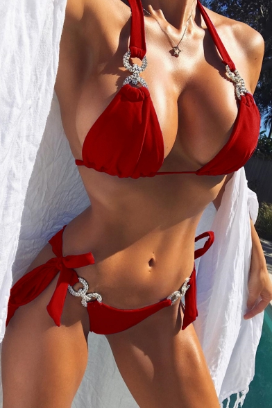 Sleeveless Sexy Plain Embellished Bikini Halter Diamante vxOgPq