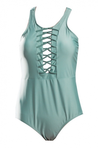 Lace Up Front Round Neck Sleeveless Plain One Piece Hollow Out Back Swimwear