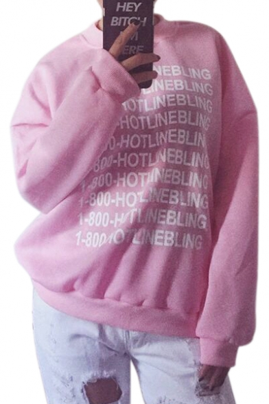 Long Loose Pullover Sweatshirt Printed Neck Letter Sleeve Round qfzwE