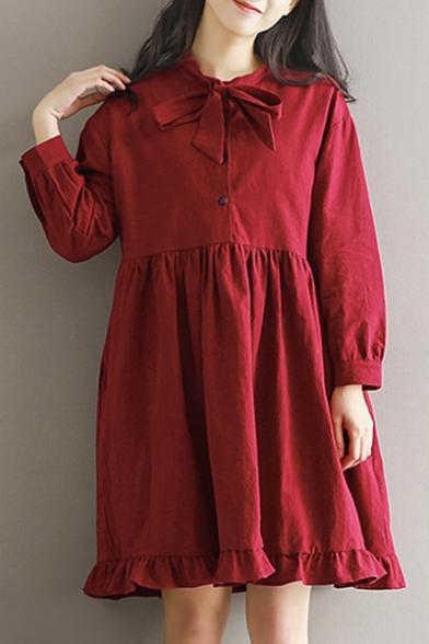 Plain Bow Tie Round Neck Long Sleeve Ruffle Detail Midi Smock Dress