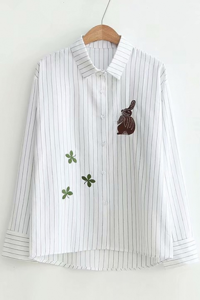 Rabbit Leaf Embroidered Striped Printed Lapel Collar Long Sleeve Button Down Shirt