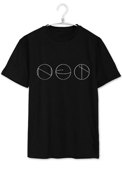 Geometric Tee Round Short Sleeve Simple Leisure Neck Printed 78xxqUwA