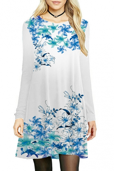 Trendy Round Neck Floral Printed Long Sleeve Midi A-Line Dress