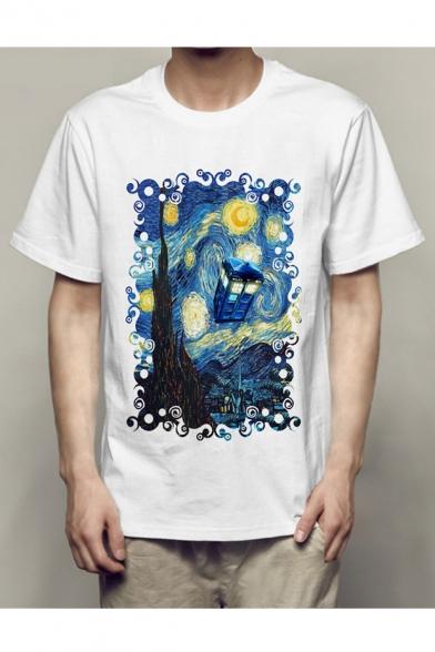Tee Sleeve Unisex Round Short Painting Printed Neck xqqHzwT6Z1