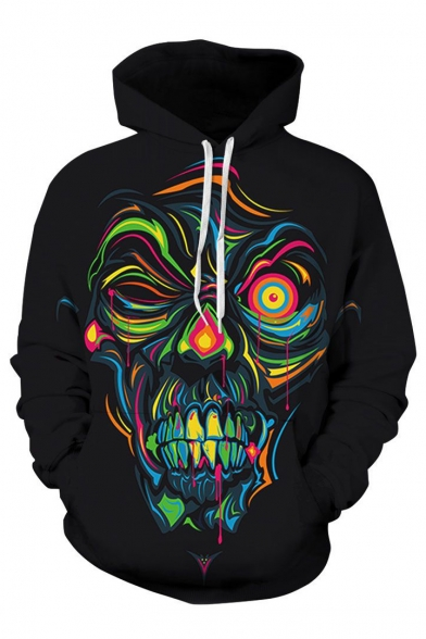 Hoodie Character Sleeve Printed Unisex Long Abstract vURHXfWf