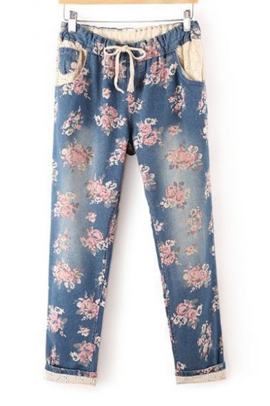 Image of All Over Floral Printed Drawstring Waist Straight Jeans