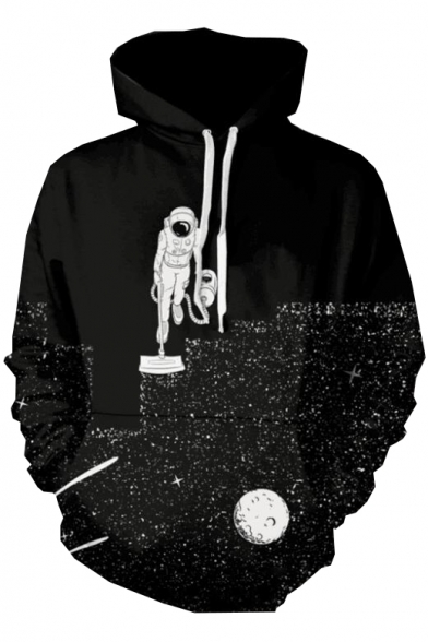 Sleeve Printed Astronaut Loose Long Hoodie Cleaner t0cwO