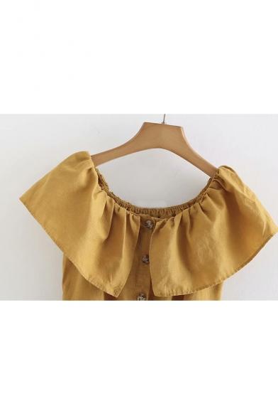 Button Down Plain Off The Shoulder Short Sleeve Mini A-Line Dress