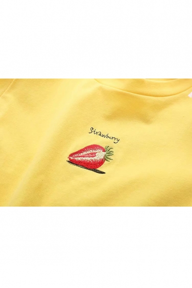 Round Chic Shoulder Tee Banana Printed Cold Letter Neck wRqRX8Ar