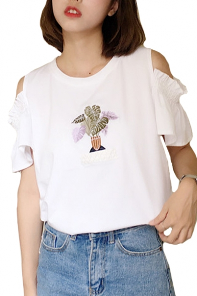 Neck Cold Plant Short Leisure Sleeve Round Embroidered Shoulder Tee r4zI4w