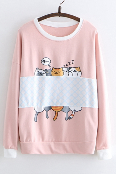 Sweatshirt Round Color Long Printed Sleeve Neck Cat Block 8w4SpqxP6