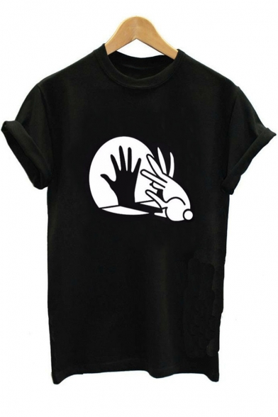 Short Sleeve Tee Printed Comic Hand Neck Rabbit Round OAnxYXq