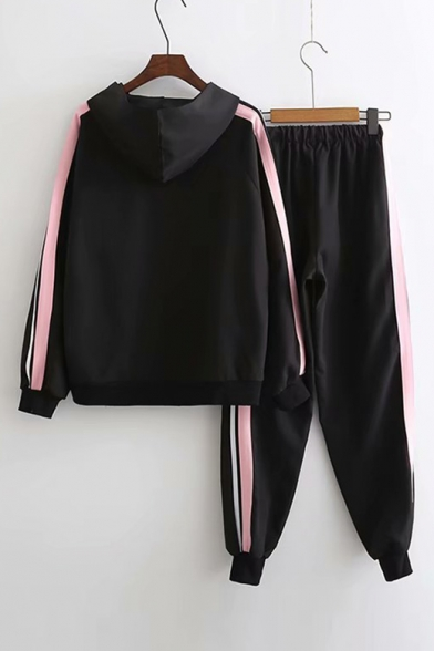 Long with Co Sleeve Striped Elastic Zip Waist Hooded Contrast Up Leisure Printed Pants ords Coat XxIqxO8