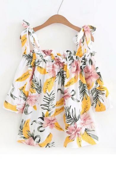 Cold Leaf Print Shoulder Fashionable Blouse HwaqzScA